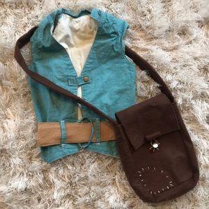 Flynn Rider costume - vest, belt, and satchel